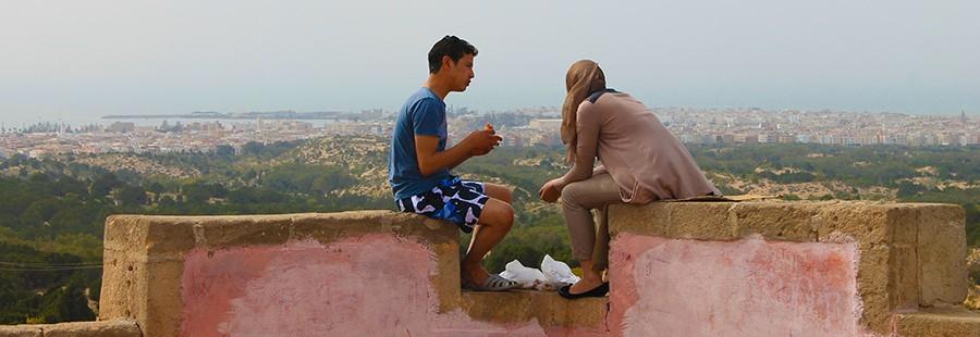 I feel Marocco uomo e donna sul muro
