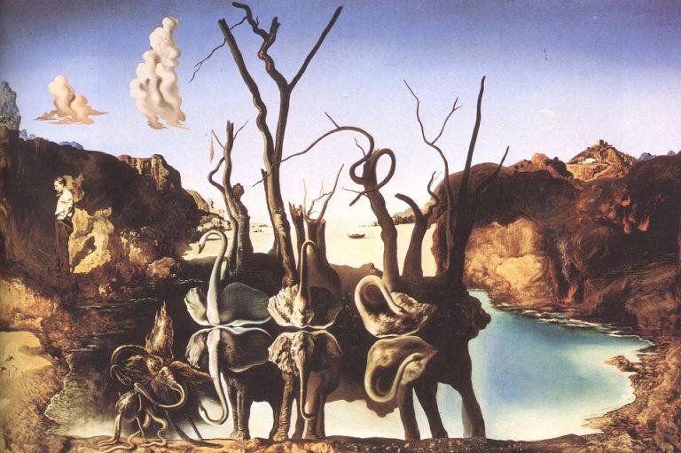 dalì opere cigni che riflettono elefanti